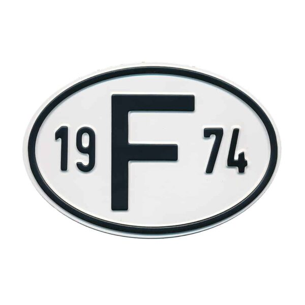 Sign F 1974 - Exterior - Plates and accessories - Country - year signs  - Generic