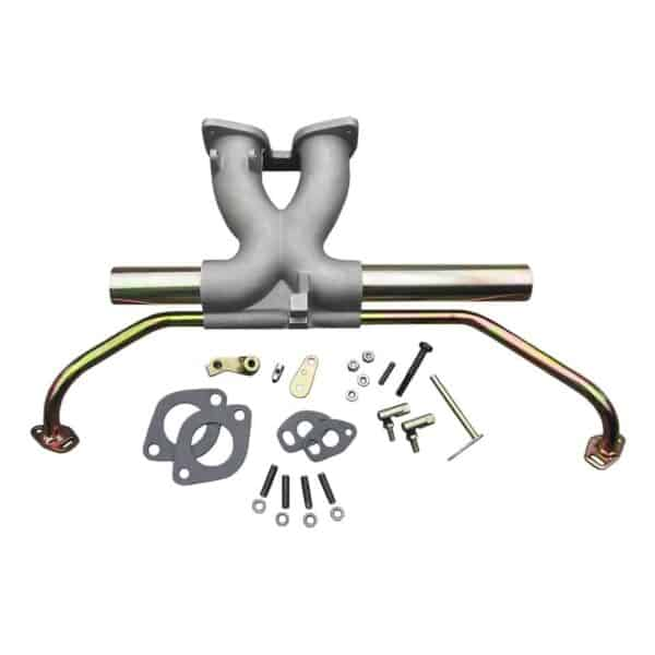 Central manifold for Weber IDFaluminium and iron finish - Engine - Fuel and intake - Central mount manifold  - Generic