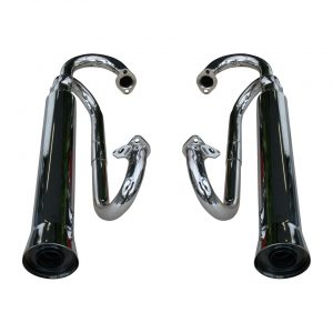 Double Baja muffler, upwards, chrome, mounting without heat exchangeras pair - Engine - Exhaust and accessories - Baja, Buggy and/or Trike exhausts  - Generic