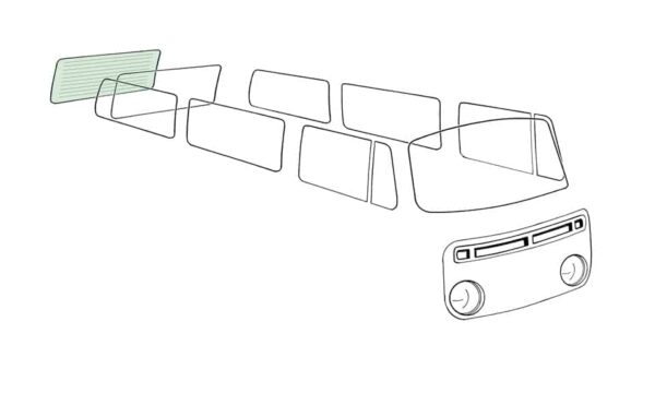 Rear window, heated, green - Exterior - Windows and accessories - Windows - for aircooled VW (XView 1-09)  - Generic