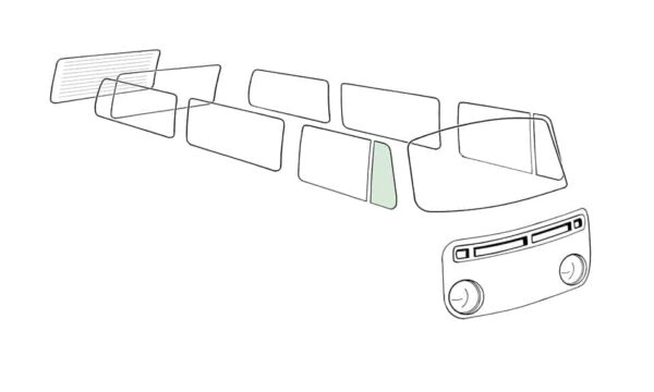 Ventwing window open right, green - Exterior - Windows and accessories - Windows - for aircooled VW (XView 1-09)  - Generic