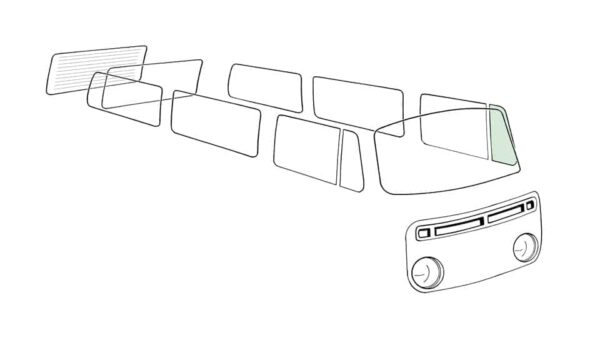 Ventwing window closed left, green - Exterior - Windows and accessories - Windows - for aircooled VW (XView 1-09)  - Generic