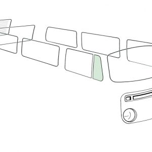 Ventwing window closed right, green - Exterior - Windows and accessories - Windows - for aircooled VW (XView 1-09)  - Generic
