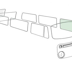 Doorwindow, left, green - Exterior - Windows and accessories - Windows - for aircooled VW (XView 1-09)  - Generic