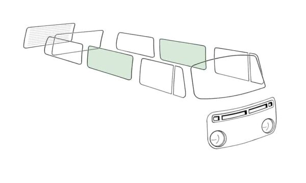 Side middle window L/R, green - Exterior - Windows and accessories - Windows - for aircooled VW (XView 1-09)  - Generic