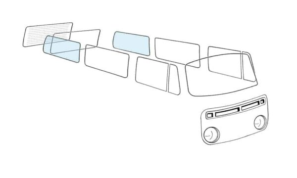 Rear side window L/R - Exterior - Windows and accessories - Windows - for aircooled VW (XView 1-09)  - Generic