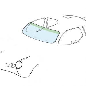 Windshield - KG coupé/convertible with green sunshade - Exterior - Windows and accessories - Windows - for aircooled VW (XView 1-09)  - Generic