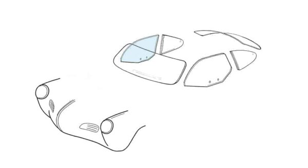 Door window right - KG coupé 08/59- - Exterior - Windows and accessories - Windows - for aircooled VW (XView 1-09)  - Generic