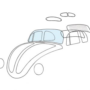 Windshield, clear - Exterior - Windows and accessories - Windows - for aircooled VW (XView 1-09)  - Generic
