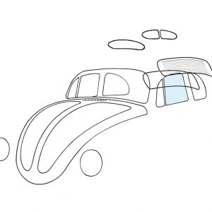 Doorwindow, left - Exterior - Windows and accessories - Windows - for aircooled VW (XView 1-09)  - Generic
