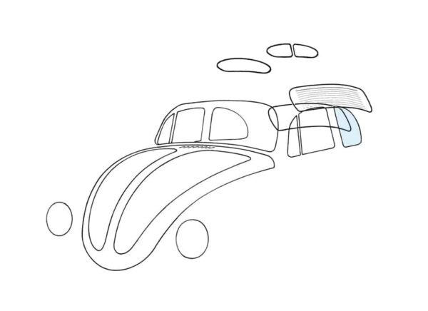 Rear side window, left - Exterior - Windows and accessories - Windows - for aircooled VW (XView 1-09)  - Generic