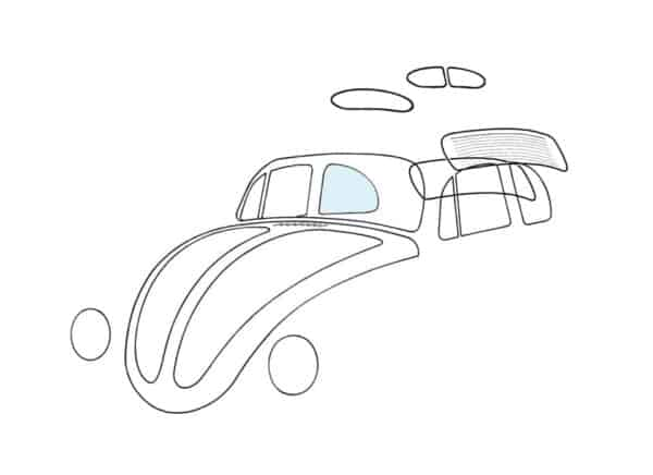 Rear side window, right - Exterior - Windows and accessories - Windows - for aircooled VW (XView 1-09)  - Generic