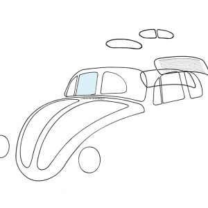 Doorwindow, right - Exterior - Windows and accessories - Windows - for aircooled VW (XView 1-09)  - Generic