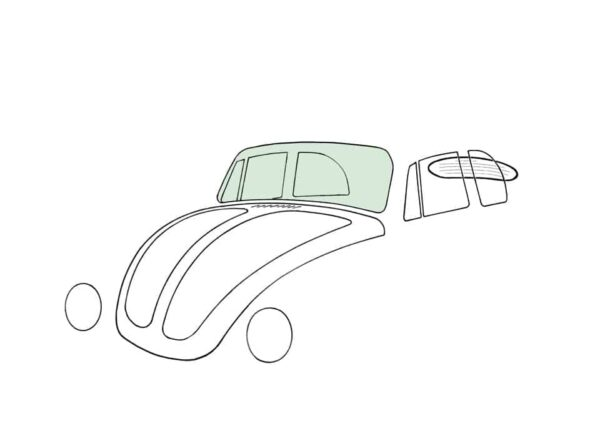Front windshield, Convertible, Green - Exterior - Windows and accessories - Windows - for aircooled VW (XView 1-09)  - Generic