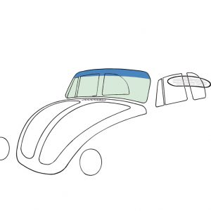Windshield, green on top blue, convertible - Exterior - Windows and accessories - Windows - for aircooled VW (XView 1-09)  - Generic