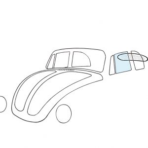 Doorwindow, left, convertible - Exterior - Windows and accessories - Windows - for aircooled VW (XView 1-09)  - Generic