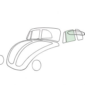 Doorwindow, left, convertible, green - Exterior - Windows and accessories - Windows - for aircooled VW (XView 1-09)  - Generic
