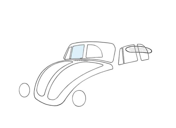 Doorwindow, right, convertible - Exterior - Windows and accessories - Windows - for aircooled VW (XView 1-09)  - Generic