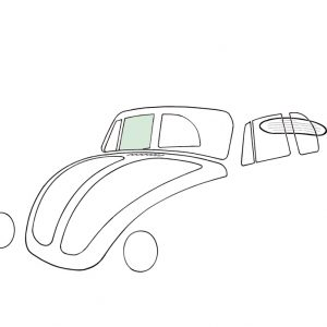 Doorwindow, right, convertible, green - Exterior - Windows and accessories - Windows - for aircooled VW (XView 1-09)  - Generic
