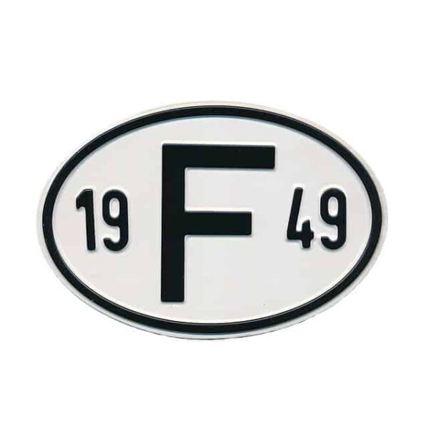 Sign F 1949 - Exterior - Plates and accessories - Country - year signs  - Generic