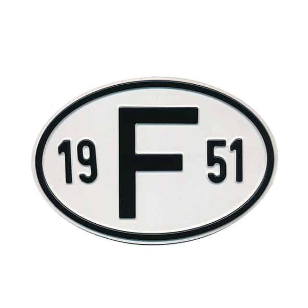 Sign F 1951 - Exterior - Plates and accessories - Country - year signs  - Generic