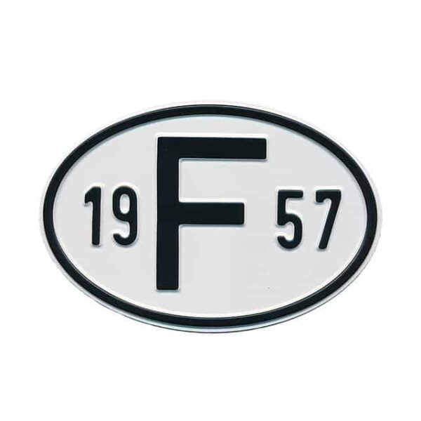 Sign F 1957 - Exterior - Plates and accessories - Country - year signs  - Generic