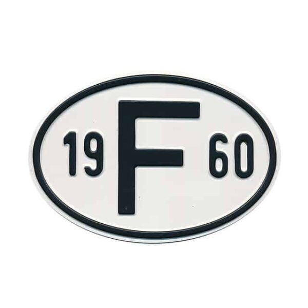 Sign F 1960 - Exterior - Plates and accessories - Country - year signs  - Generic