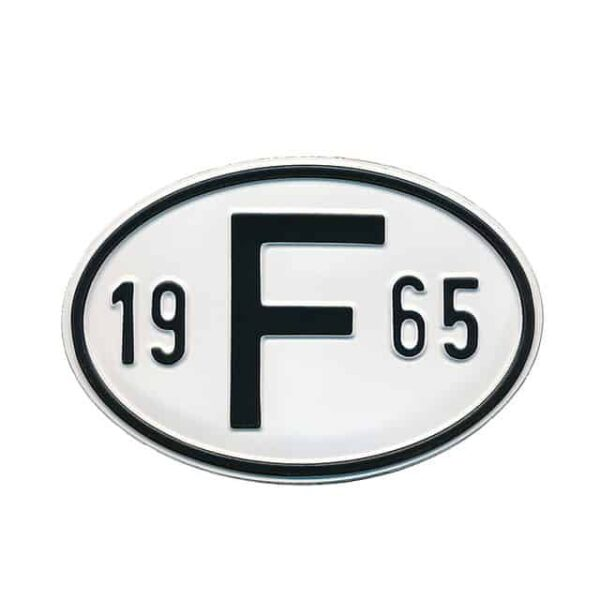 Sign F 1965 - Exterior - Plates and accessories - Country - year signs  - Generic