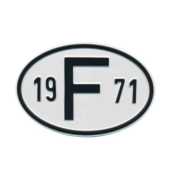 Sign F 1971 - Exterior - Plates and accessories - Country - year signs  - Generic