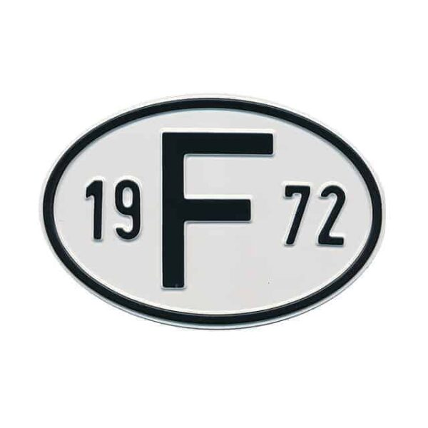 Sign F 1972 - Exterior - Plates and accessories - Country - year signs  - Generic
