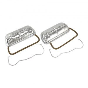 Chrome stock style valve cover with clips, as pair - Engine - Lower block - Cilinder heads (XView 5-04)  - Generic