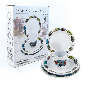 Tablewear Set printed with colourful vintage VW T1 and T2 designs. 8-piece set - Exterior - Accessories - Camping equipment  - Generic