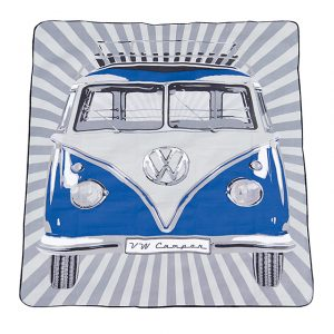 Beach towel VW T1 Deluxe bus and stripes - red - Exterior - Accessories - Camping equipment  - Generic