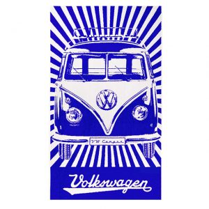 Beach towel VW T1 Deluxe bus and stripes - blue - Exterior - Accessories - Camping equipment  - Generic