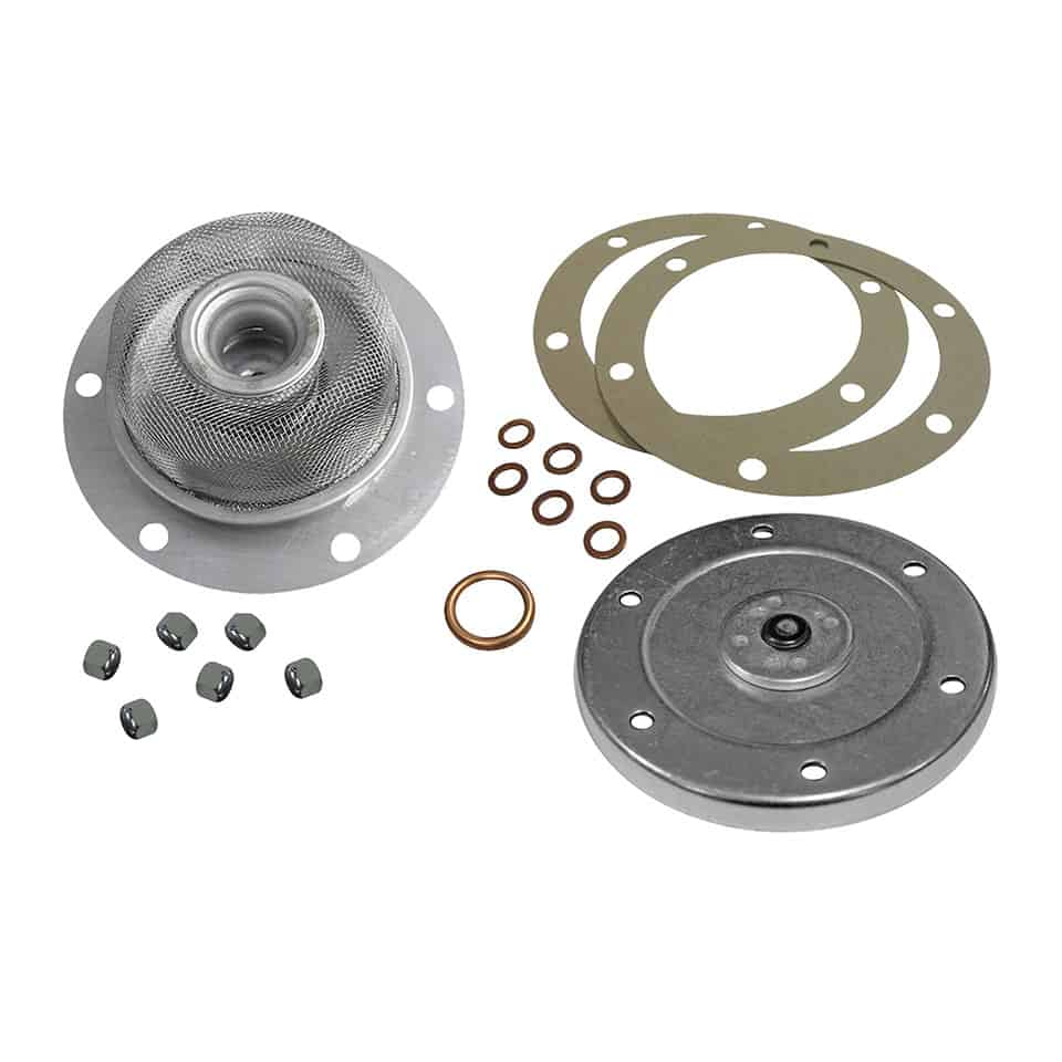 Complete oil change kit, strainer, sump plate, seals and nuts.