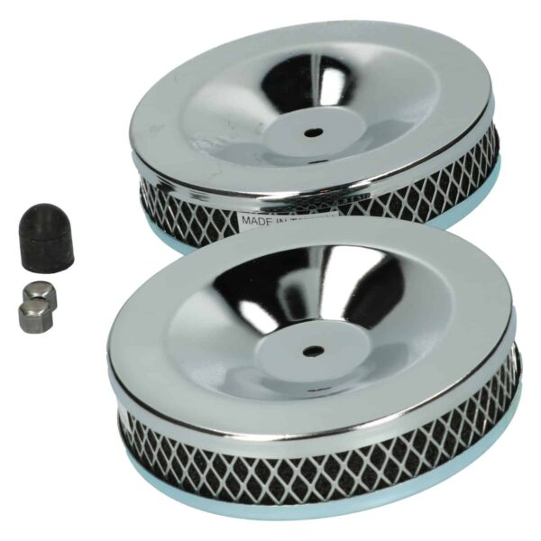 Chrome air filter twin carburettoras pair - Engine - Fuel and intake - Air filter element  - Generic
