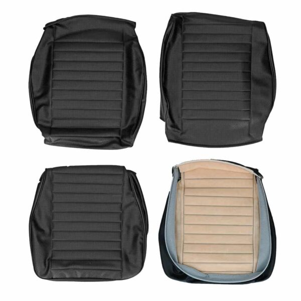 Front seat covers black walkthrough - Bus 08/77-07/79 Square weave - (horizontal seams) - Interior - Seats and accessories - Seat covers  - Generic