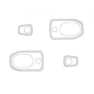 Door handle seals, 4 pieces, L/ROriginal - Exterior - Body part rubbers - Door seals  Bus '68-'79 Bus & Pick-up  (XView 1-18)  - Generic
