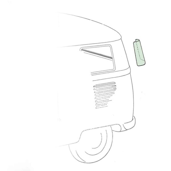 Corner window - green (1) - Exterior - Windows and accessories - Windows - for aircooled VW (XView 1-09)  - VW Sunroofs