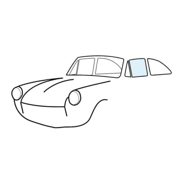 Door window, left, clear - Exterior - Windows and accessories - Windows - for aircooled VW (XView 1-09)  - Generic